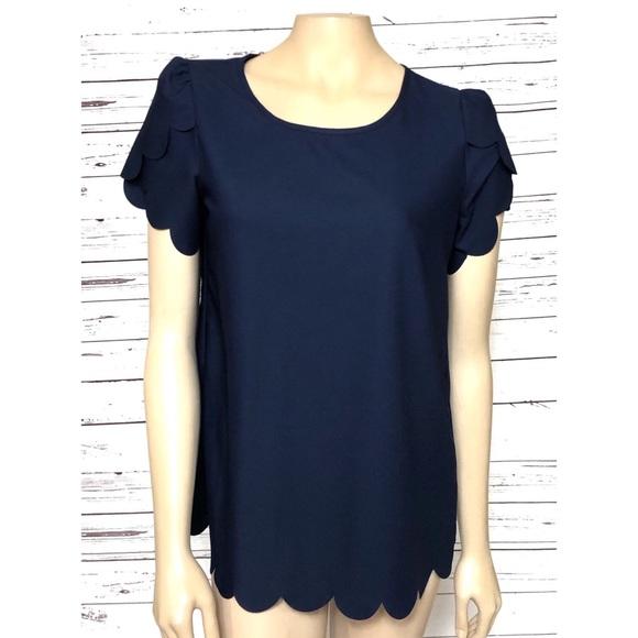 02148ec058f9 SHEIN Tops | Womens Blouse Top Size Medium Navy Blue | Poshmark